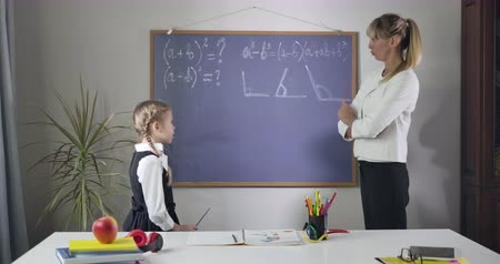 diligence : Cute Caucasian girl listening carefully to adult tutor explaining her mathematical formulas. Pretty schoolgirl learning at home. Education, intelligence, diligence. Cinema 4k ProRes HQ. Stock Footage