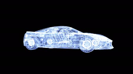 assemblea : 3D animation, hologram of car with visible interiors with alpha channel. Automobile design spinning around. Automobile industry, vehicle manufacturing. QuickTime, 4K resolution.