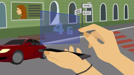 movilidad : 2D animation, Caucasian hand appearing with smartphone on city street. Finger touching hologram with 4G and it changes to 5G and 6G. Development of modern technologies, urban life, globalization.