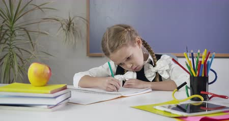 pigtailler : Portrait of cute Caucasian schoolgirl with pigtails sitting at the table and writing in exercise book. Diligent elementary student doing homework. Education concept, intelligence. Cinema 4k ProRes HQ.