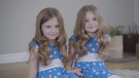 união europeia : Portrait of two charming little brunette girls looking at camera and smiling. Caucasian twin sisters in similar dresses posing at home. Happiness, lifestyle, unity.