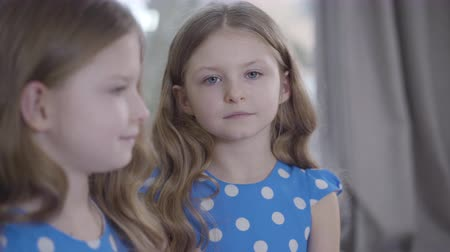 identical : Headshot of cute serious Caucasian girl with grey eyes looking at camera with blurred profile of twin sister at the foreground. Close-up portrait of identical twins indoors. Family, lifestyle, beauty. Stock Footage