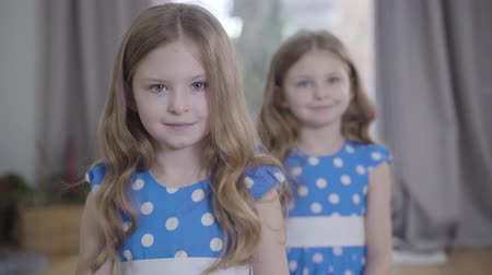 união europeia : Camera approaching to two beautiful little Caucasian girls posing indoors. Brunette twin sisters in similar dresses looking at camera and smiling. Focused at face of kid at the foreground. Stock Footage