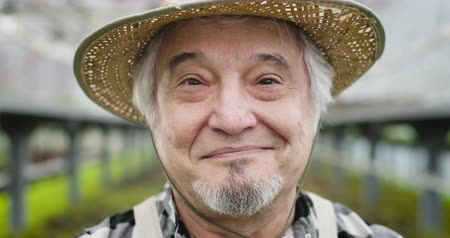 biologa : Close-up face of joyful mature Caucasian man with brown eyes looking at camera and smiling. Portrait of positive senior gardener in straw hat in greenhouse. Cinema 4k ProRes HQ.