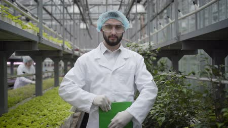 vegetarianismo : Young confident Caucasian man in protective workwear writing down, looking at camera and smiling. Camera approaching to professional agronomist working in glasshouse. Agriculture, cultivation, job.