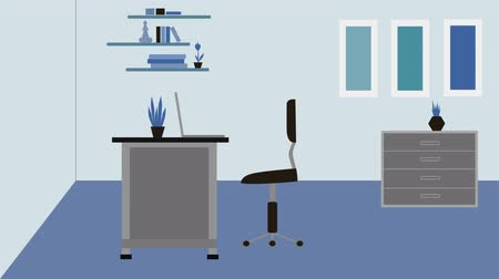 sedentary : 2D animation, young Caucasian man sitting down on chair in office. Red sign of pain in back and in neck appearing. Concept of health care, professional illness, sedentary lifestyle. Stock Footage