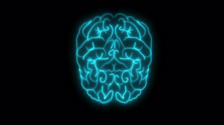 мультфильмы : 2D animation, flashing blue neon lights forming structure of human brain. Burning lines showing neural network on black background. Concept of intelligence, internal organs, medicine, anatomy.