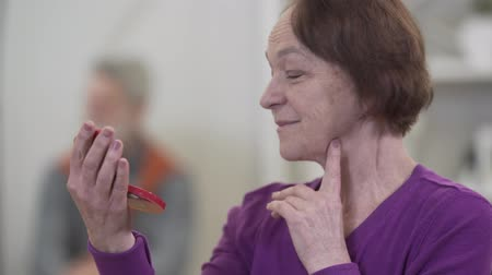 humanidade : Close-up face of smiling senior Caucasian woman looking at hand mirror. Female retiree looking back at blurred man and checking makeup. Stock Footage