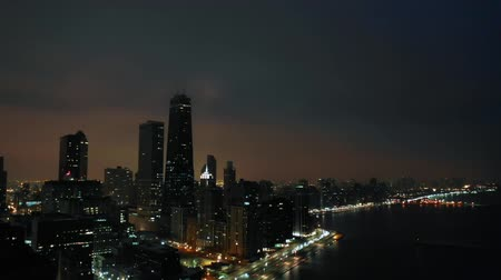 drone : Downtown Chicago at Night Stock Footage