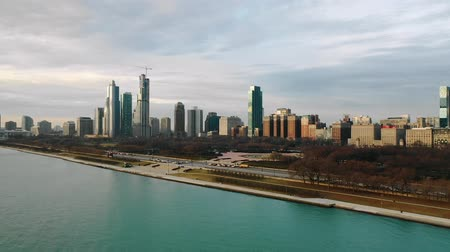 drone : Chicago harbor with the skyline in the background. Stock Footage