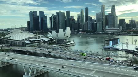 bridge man made structure : Time lapse of the beautiful Singapore skyline.