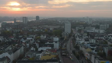 rathaus : Aerial View Of Hamburg City (Germany). Beautyful Sunset Over The City.
