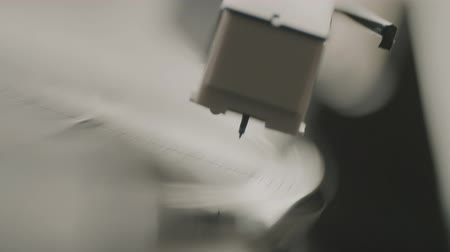 gramophone : Old Gramophone Turntable With Record Running Stock Footage