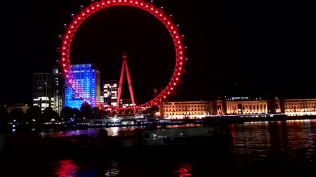 westminster : Timelapse shot at night, showing the iconic London Eye.