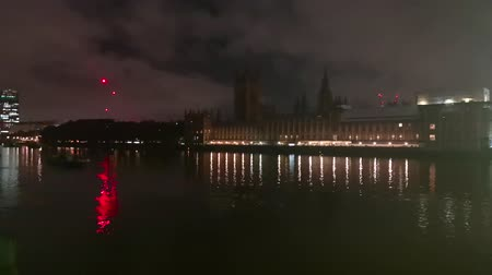 theems : Londen Downtown Night View Beroemde bezienswaardigheid Westminster Palace