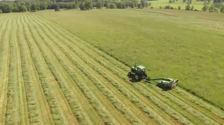 broca : Tractor Cutting Grass On A Large Field Stock Footage