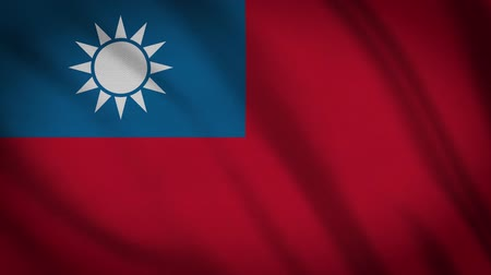 final round : Taiwan Flag Waving Cloth, Background Loop Stock Footage