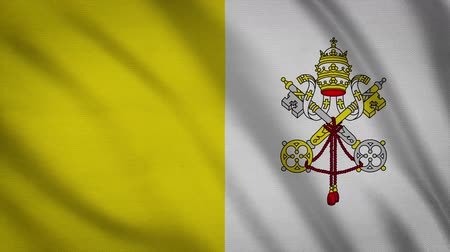 szatén : Flag Of Vatican City With Fabric Structure In The Wind (Loopable)