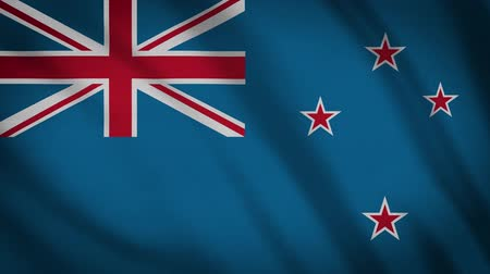 nowa zelandia : New Zealand Flag Waving Animation. Full Screen. Symbol Of The Country.