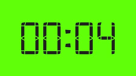 stoper : Digital Clock Of 60 Seconds, Regular Hundredths - Green Screen And Alpha Wideo