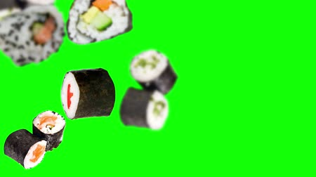 унаги : Falling Sushi Pieces on green background