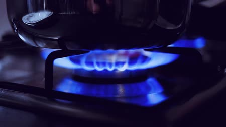 gas hob : Burning Gas Burner On The Stove