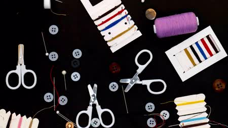 filamento : Colorful Sewing Tools in Motion Stock Footage