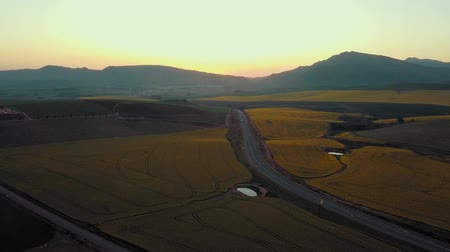mezőgazdasági : Aerial view Of A Road Through Agricultural Lands