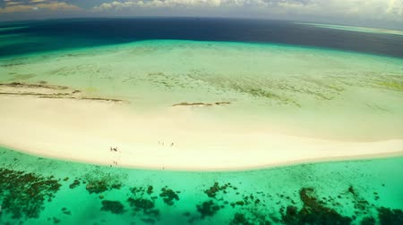 западный : aerial  view of Island and Sandbank in Azure water. Zanzibar  West Region. Tanzania Стоковые видеозаписи