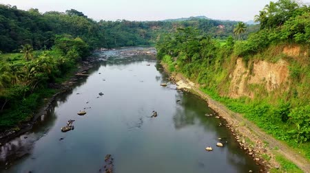 западный : Drone Moves To Mountain River With Rocks Between Jungle. west java. Indonesia