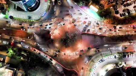 paisagem urbana : Aerial Shot Of Roundabout City Traffic. Top View. Banten, Indonesia Vídeos