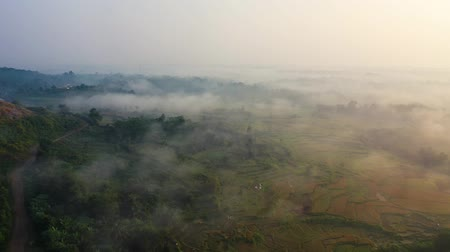 podróż : Aerial View Flying Over Beautiful Countryside Fields Through Mysterious Fog.