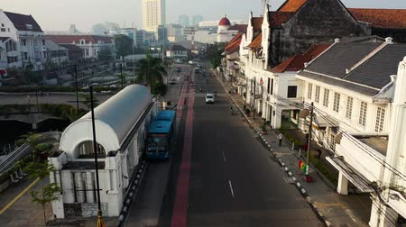 perspektif : Bus Approach And Stop At Transit Station. Road Perspective View. Jakarta. Indonesia