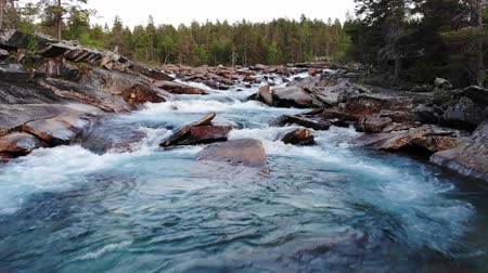 águas : Flying Down The River Revealing The Rushing Waters And Rocky Formations Below. Oslo. Norway