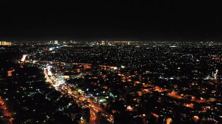 fachada : View Of Night City With Beautiful Night Lights. Banten. Indonesia Stock Footage