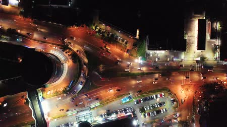 trilhas : Aerial view of night traffic on the road intersection. Banten. Indonesia