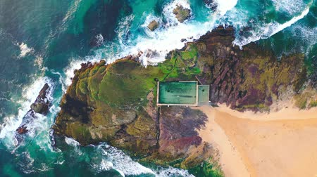 bird eye : Aerial View Above Public Swimming Pool At Mona Vale Beach. Sydney. Australia.