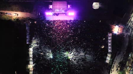 torcendo : Aerial Shot Of A Concert At Night In The Open Air. Indonesia Vídeos