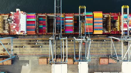 vessels : Aerial View Above Commercial Dockyard Logistic Concept