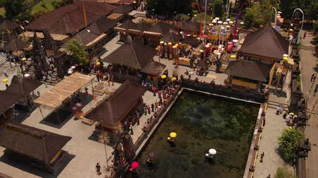 szentelt : Aerial View Of People Visiting A Preserved Temples. Indonesia.