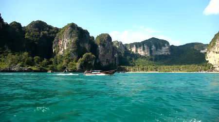 View from the floating boat. Krabi, Thailand