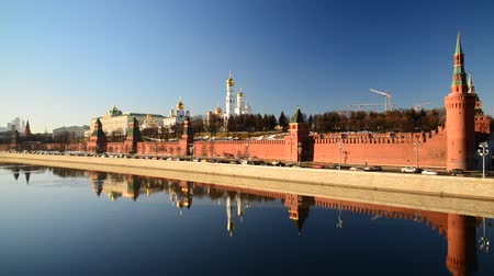annunciation : View of  Moscow Kremlin from  river, Russia Stock Footage