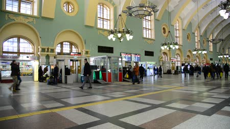 points of interest : MOSCOW, RUSSIA — February 18.2016.  The interior of the Kazansky railway station. Built in 1862.