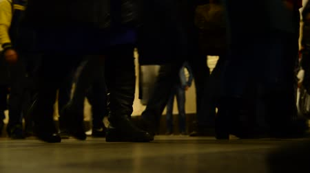 footgear : Moscow, Russia - March 10.2016. Many people at the metro station Taganskaya at rush hour Stock Footage