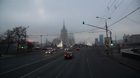 points of interest : Moscow, Russia - February 21.2016. Motion along Novoarbatsky bridge to  Radisson Royal Hotel