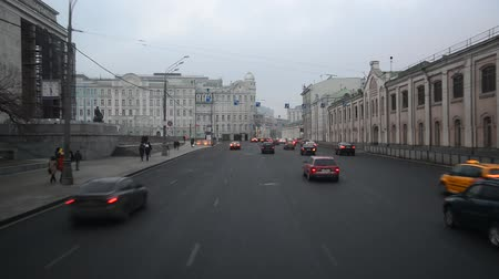 points of interest : Moscow, Russia - February 21.2016. traffic on Mokhovaya street on  cloudy day