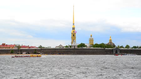 bástya : St. Petersburg, Russia - June 03. 2017. Peter and Paul Fortress and river Neva Stock mozgókép
