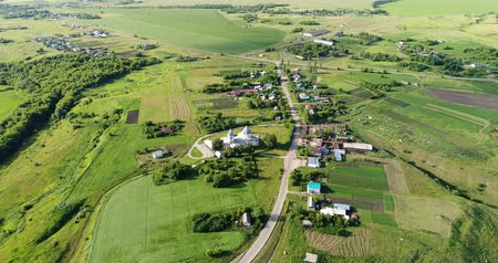 ortodoxie : View from the drone to village and the church, Russia