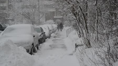 luty : Row of snow-covered cars along the sidewalk near house. Moscow, Russia Wideo