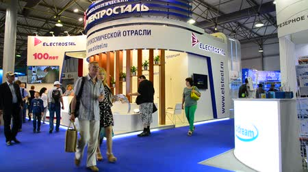 metallurgical plant : Zhukovsky, Russia - July 22. 2017. Metallurgical plant Elektrostal on Space salon MAKS-2017